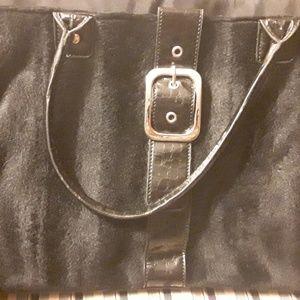 Black velvet purse buckle handbag tote boho